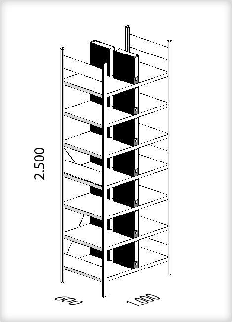 b roregal gesteckt als grundregal mit 8 fachb den mit platz f r 168 aktenordner je regal. Black Bedroom Furniture Sets. Home Design Ideas